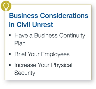 Business considerations in civil unrest